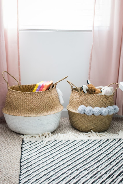 Toy storage using baskets in a small playroom