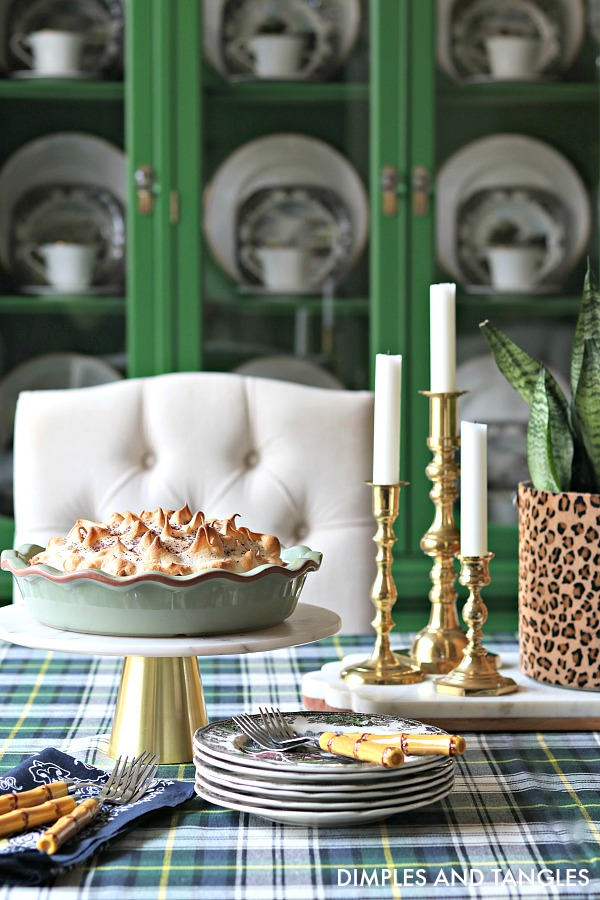 Ralph Lauren Middlebrook Plaid Tablecloth, leopard ice bucket, green china cabinet, friendly village plates, chocolate pie, west elm marble cake stand