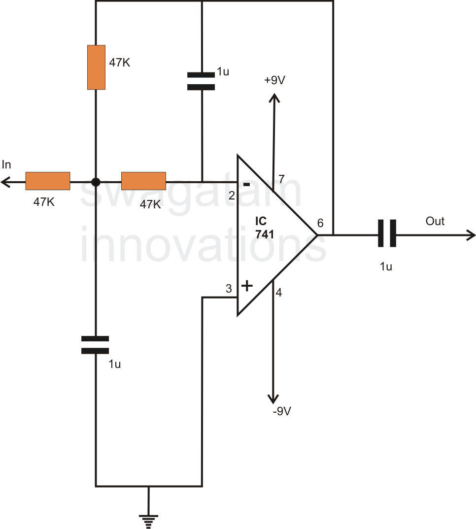how to make a simple active low pass filter circuit using ic 741