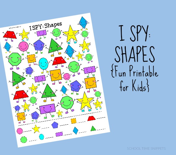 Your child will love discriminating and finding various shapes in this I SPY: Shapes Printable.  It's a great way to talk about all the shapes your child may know, plus a few new ones.