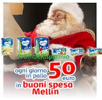 Logo Con Mellin vinci buoni spesa e weekend a casa di Babbo Natale