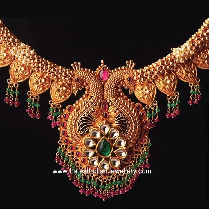 Eye Catching Peacock Gold Necklace Latest Indian