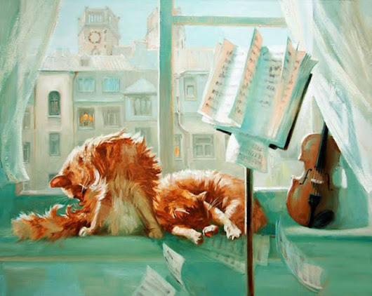 DANCE WITH COLORS: D.W.C. Cat Musicians - Painter Maria Pavlova