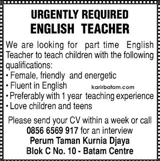 Lowongan Kerja Guru Bahasa Inggris