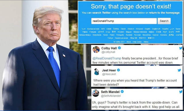 Image result for Trump's twitter account deliberately deactivated by an employee