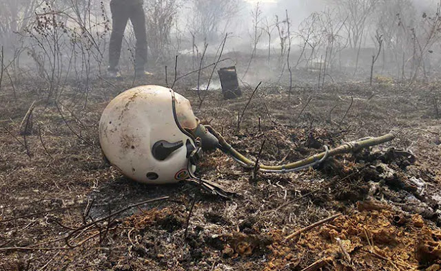 Image Attribute: A helmet of one of the pilots of ill-fated Mirage 2000 Trainer which crashed at HAL Bangalore facility on January 31, 2019.