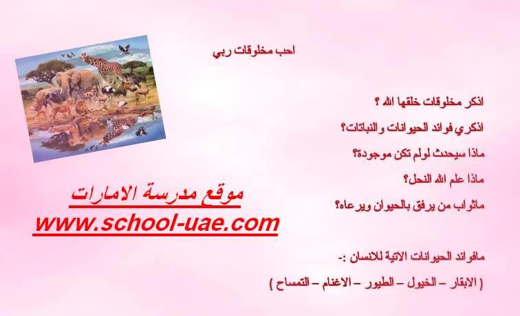 ورقة عمل درس أحب مخلوقات ربى تربية اسلامية للصف الاول الفصل الثالث - موقع مدرسة الامارات