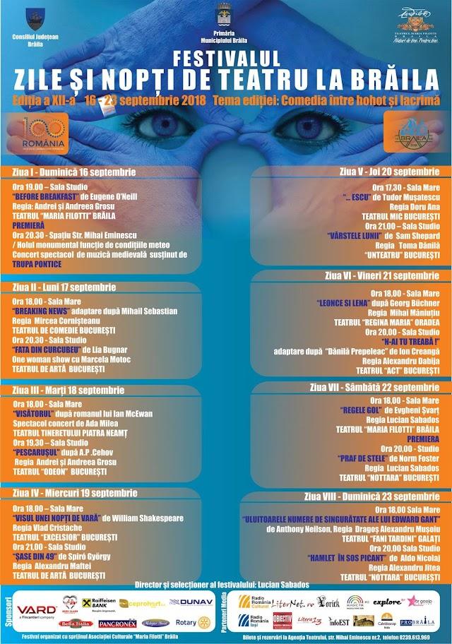 PROGRAM: Festivalul Zile si Nopti de Teatru la Braila, 2018