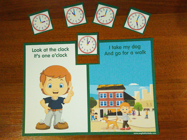 Telling the time worksheet with the cut-out part
