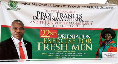 MOUAU 22nd Orientation Exercise Schedule for New Students – 2016/2017