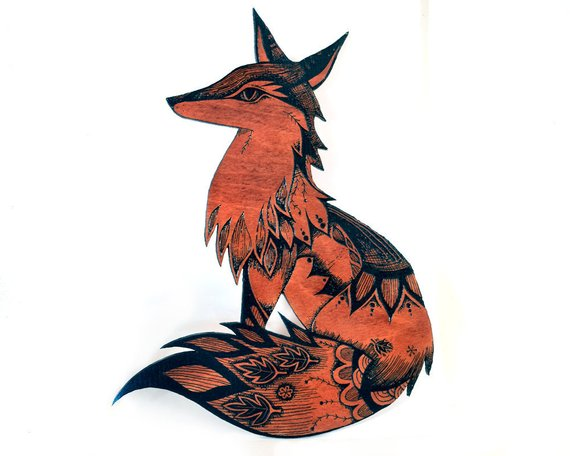 fox wood wall hanging art