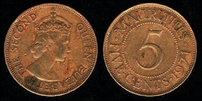 Mauritius 5 Cents (1956-1978)1964 Coin