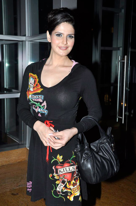 Zarine Khan Photos in Black and Blue Dress