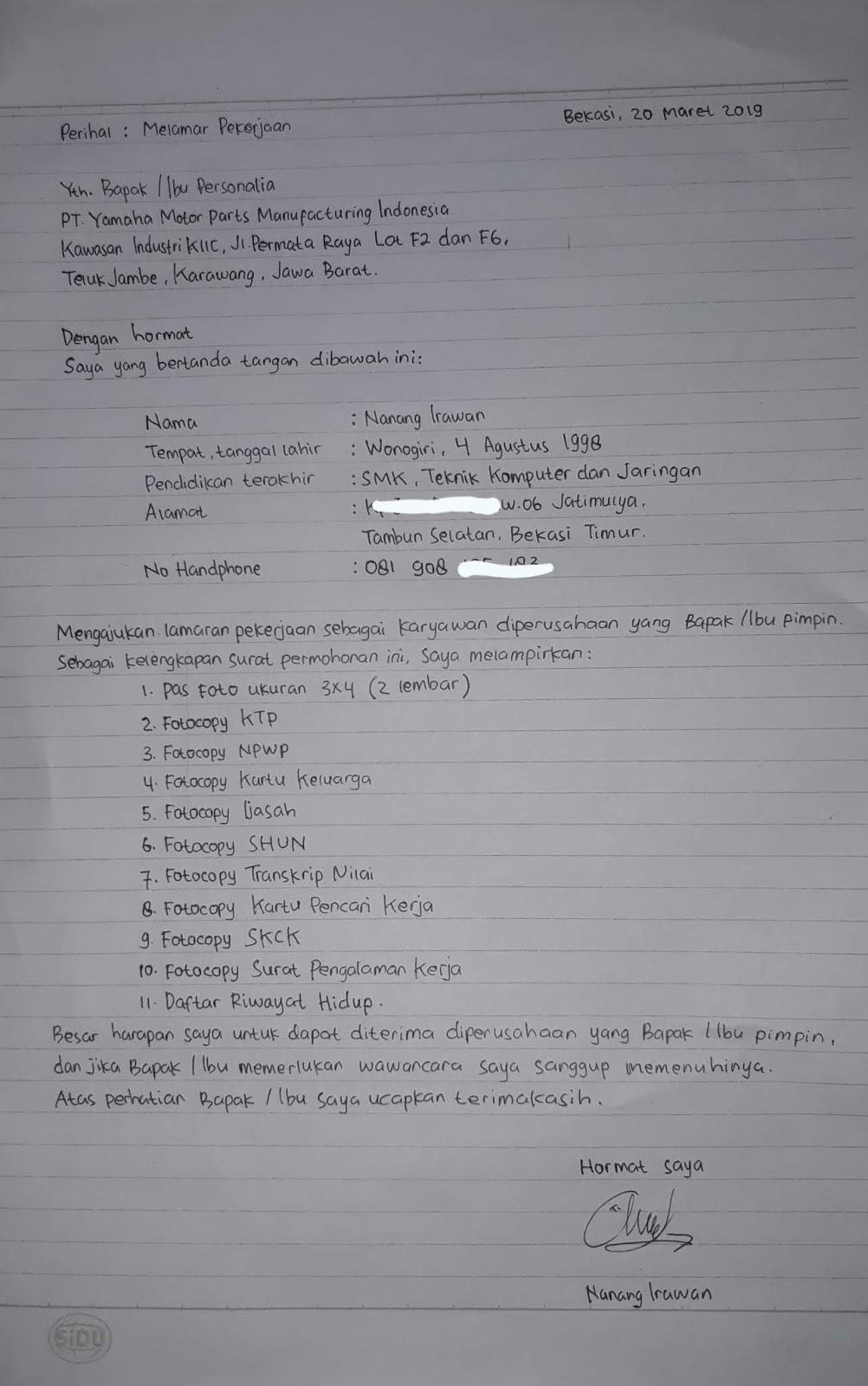 Contoh Surat Lamaran Kerja Tulisan Tangan Yang Benar