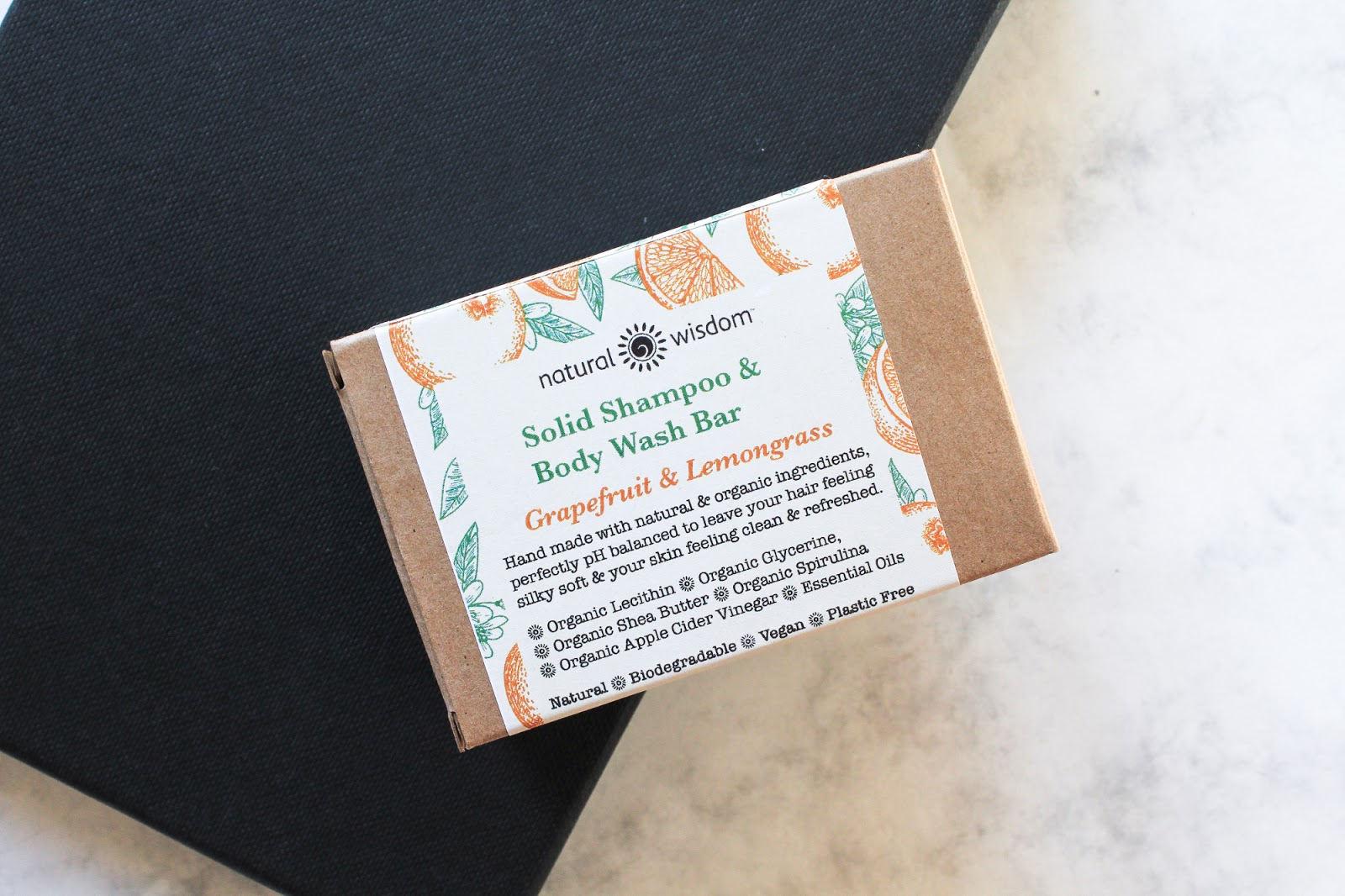 Natural Wisdom Spa Solid Shampoo & Body Wash Bar Grapefruit & Lemongrass. Vegan, plastic free, natural
