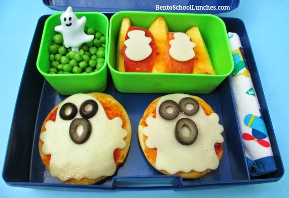 Halloween Ghost Pizzas Bento {with recipe}