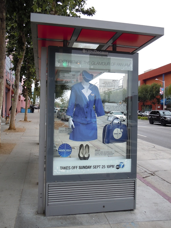 Pan Am TV show outfit promotional bus shelter