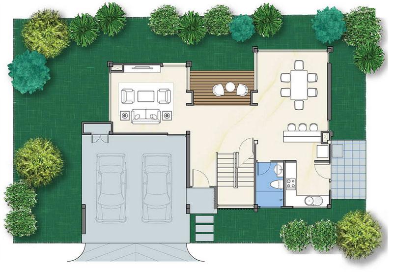 MyHousePlanShop: Double Story Three Bedroom Modern House Plan
