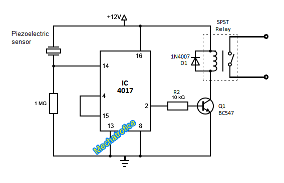 Simple touch switch circuit using transistor, 4017, 555 IC