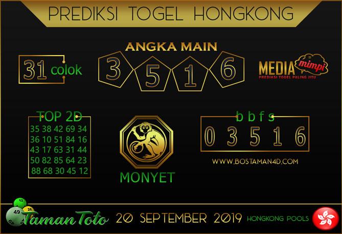 Prediksi Togel HONGKONG TAMAN TOTO 20 SEPTEMBER 2019