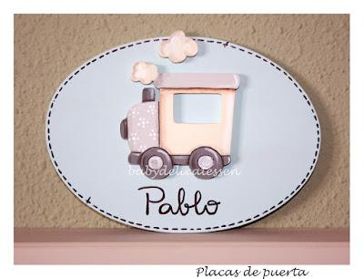 placa de puerta infantil locomotora nombre Pablo babydelicatessen