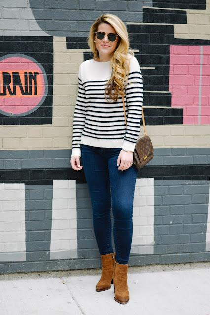 navy and white spring outfit idea