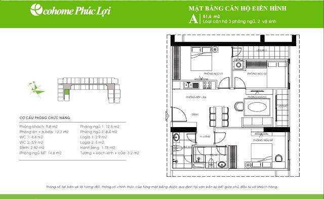 Thiết kế chung cư Ecohome Phúc Lợi - căn hộ A