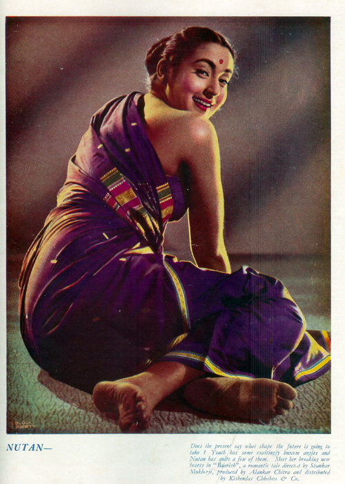 Sensuous Photograph of Hindi Movie Actress Nutan from Filmindia Magazine - 1956