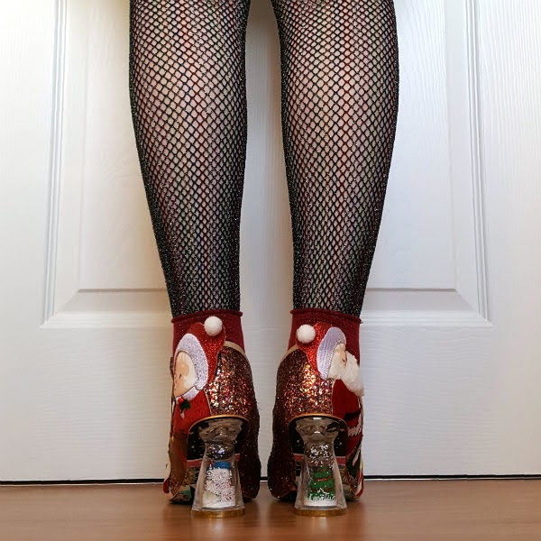 festive christmas shoes with snow globe heels