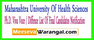 Maharashtra University Of Health Sciences Ph.D. Viva Voce / Diffence List Of Final Candidates Notification