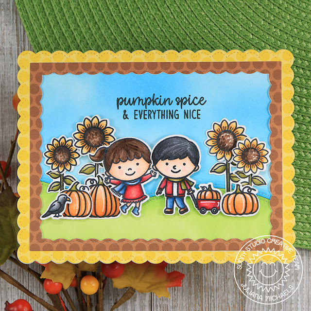 Sunny Studio Stamps: Happy Harvest Fall Kiddos Fancy Frames Scalloped Edged Fall Themed Card by Juliana Michaels