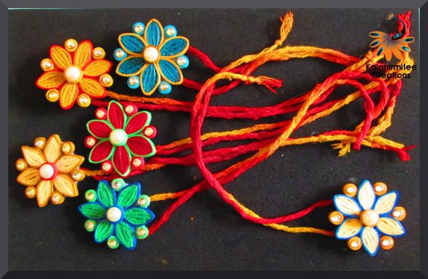 Quilled rakhi tutorial kalanirmitee creations for Handmade paper creations