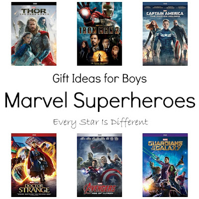 Marvel Superhero gift ideas for boys.