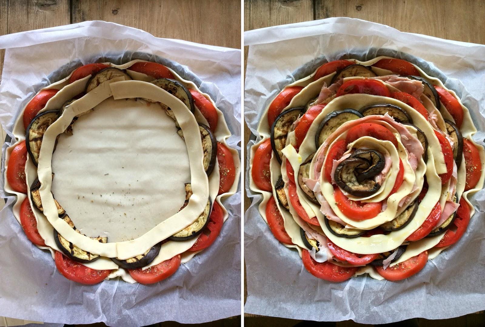 torta salata a spirale di verdure e prosciutto