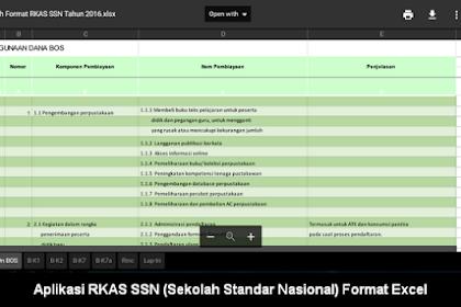 Aplikasi RKAS SSN (Sekolah Standar Nasional) Format Excel