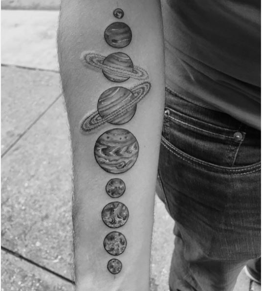 black and white planets tattoo - photo #5