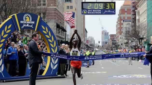 Geoffrey Kirui winning moments of Boston Marathon