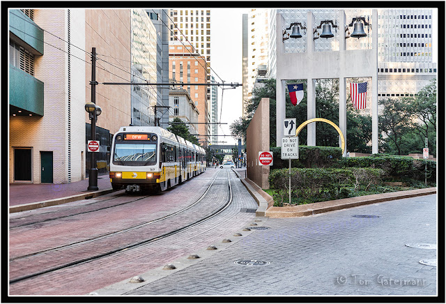 DART Orange Line train at Thanks-Giving Square in downtown Dallas.