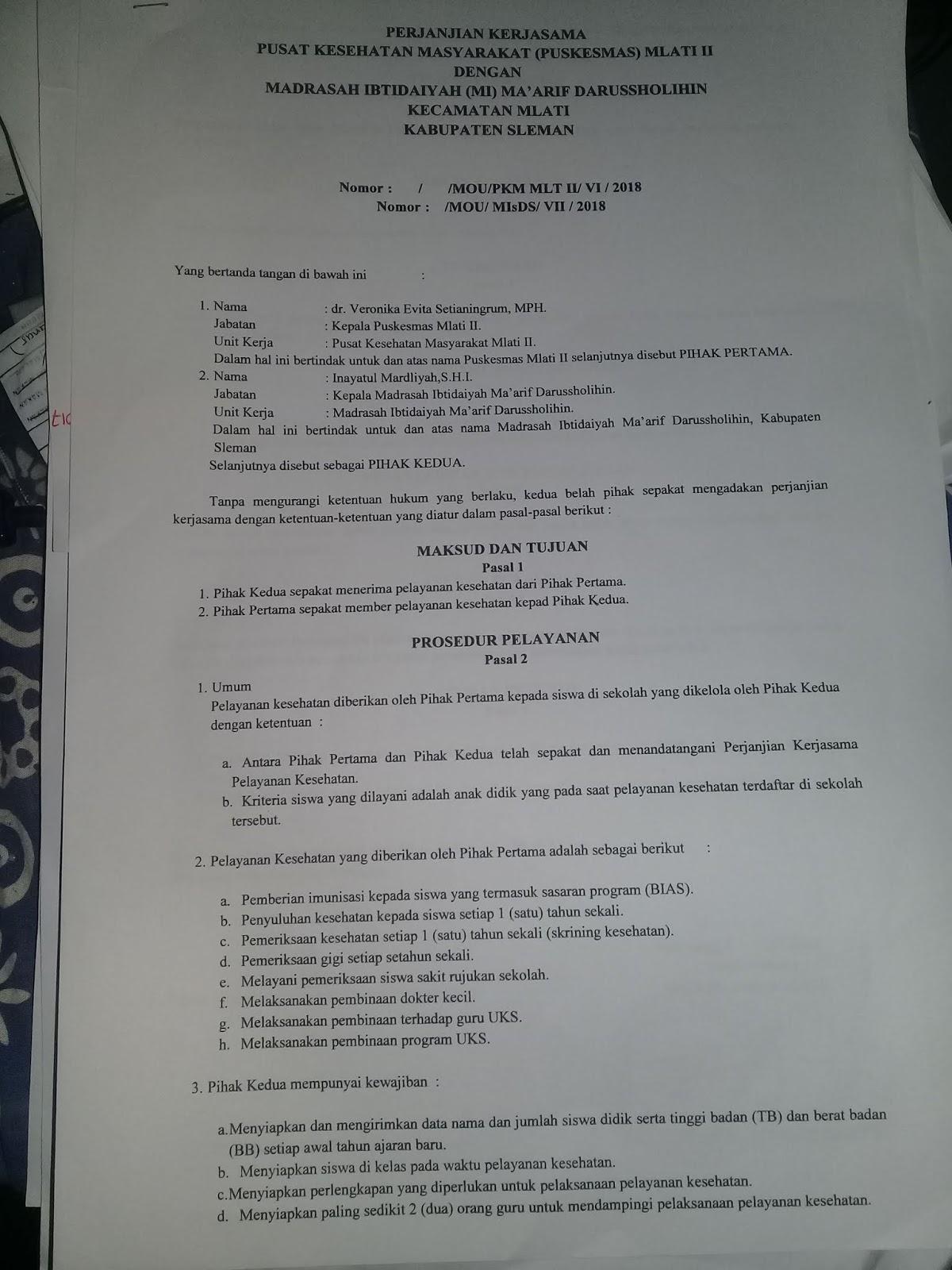 Contoh Surat Perjanjian Kerjasama Pelayanan Kesehatan Antara
