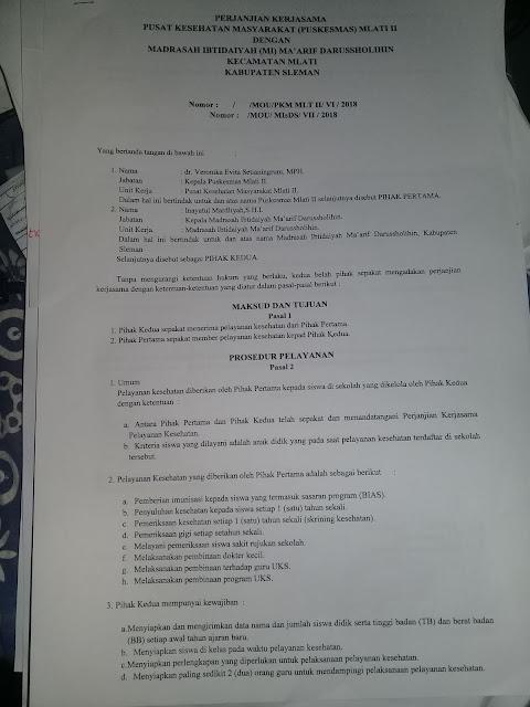 Contoh Surat Perjanjian Kerjasama Pelayanan Kesehatan antara Puskesmas dan Sekolah/Madrasah