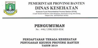 Pendaftaran Tenaga Kesehatan Penugasan Khusus Provinsi Banten Tahun 2019