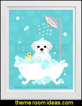 Maltese Dog in Bubble Bath Bathtub UNFRAMED Wall Art Print