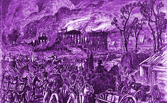 Capture and Burning of Washington by the British, in 1814, wood engraving (1876).