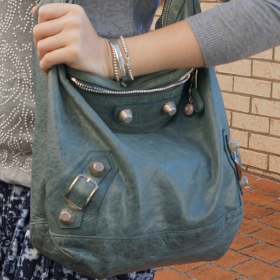 grey embellished knit jumper with Balenciaga storm blue tempete day hobo g21 bag   away from the blue