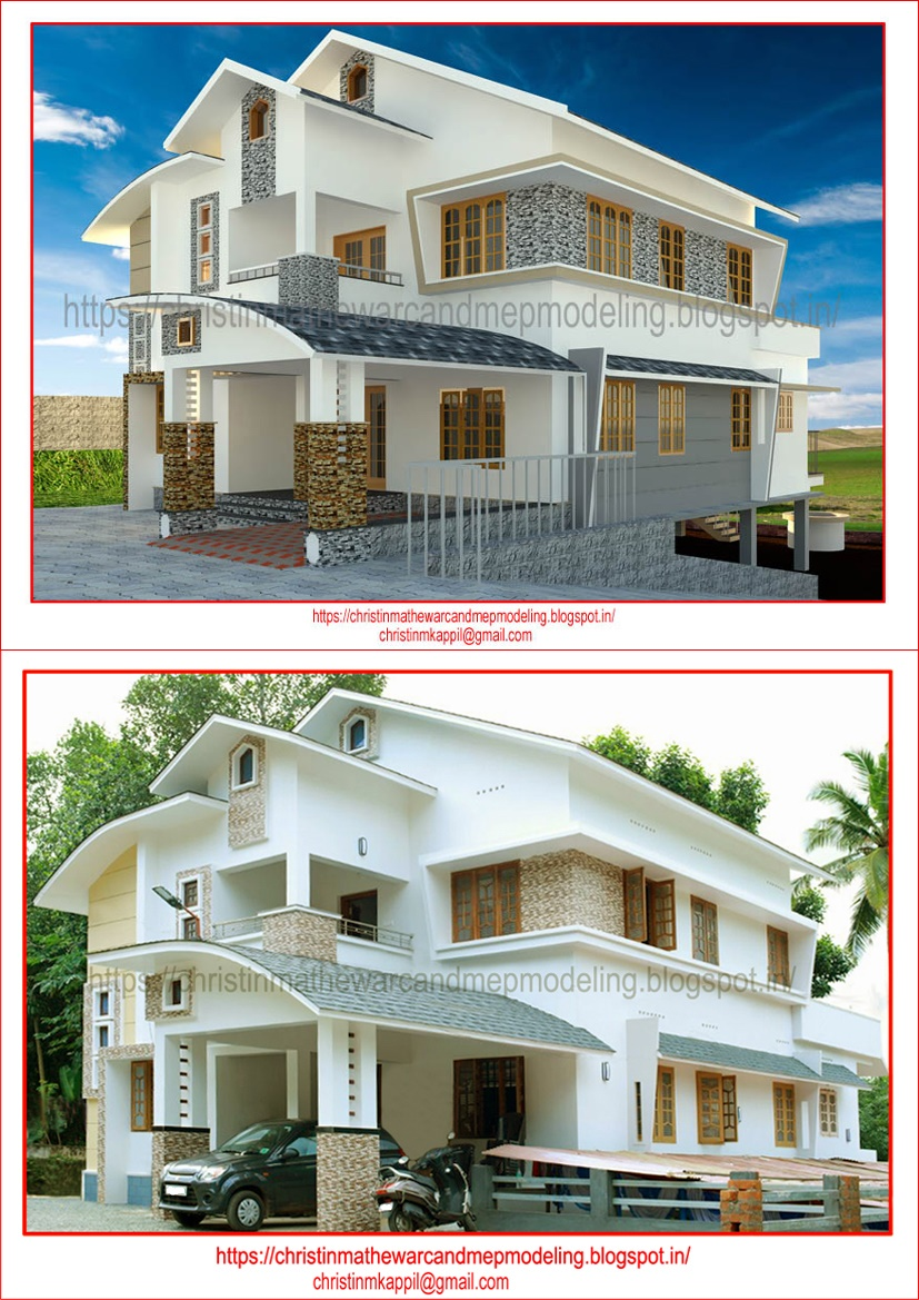 Modern villa 3d model and finished photo