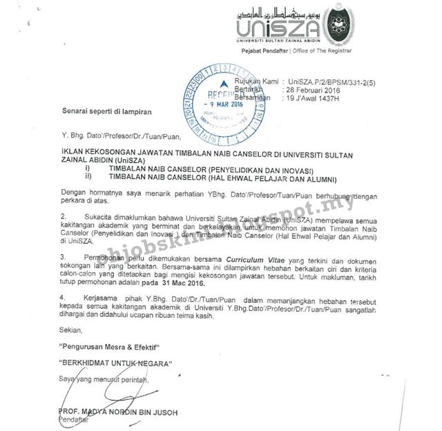 Jawatan Kosong Universiti Sultan Zainal Abidin (UNiSZA)