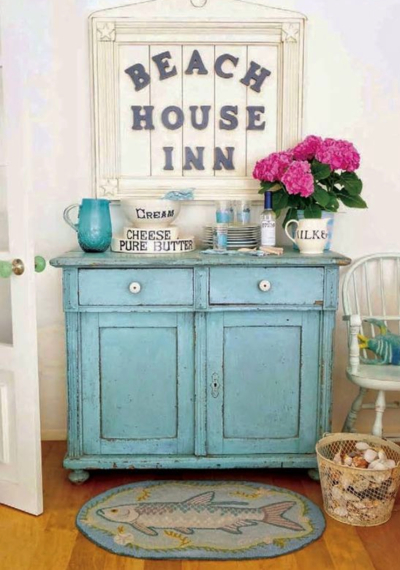 Distressed Blue Dresser for Beach Cottage Style Decorating