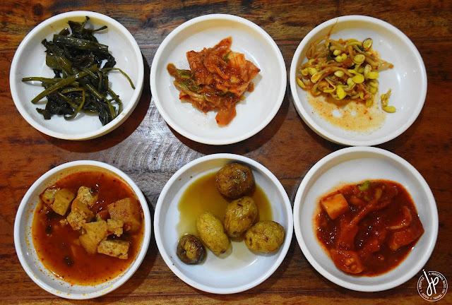 kangkong, kimchi, bean sprout, tofu, potatoes, radish