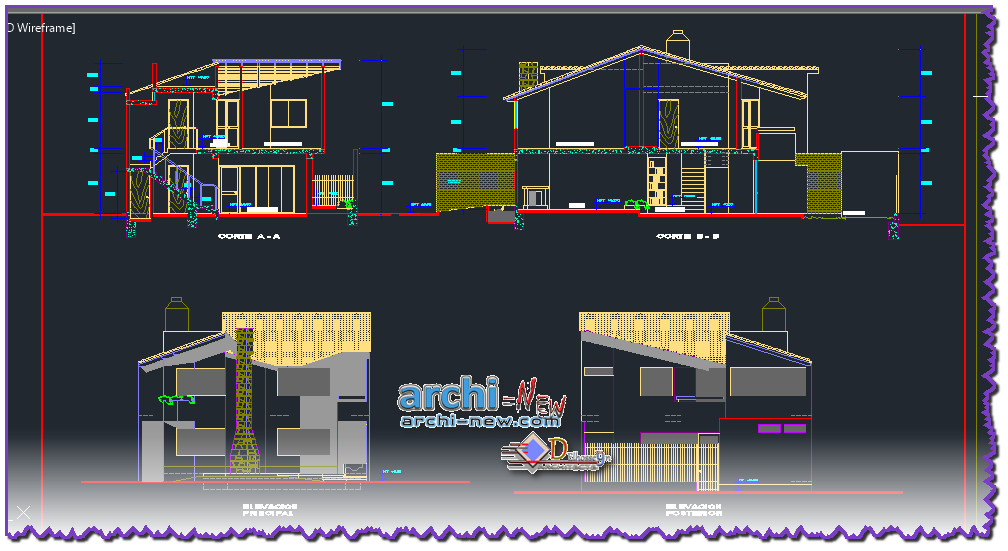 Download autocad cad dwg file house with frame rustic with for House cad file