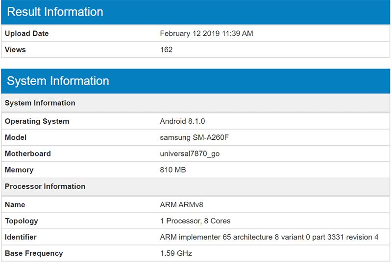 SM-A260F Geekbench result